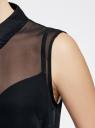 Топ из струящейся ткани с рубашечным воротником oodji #SECTION_NAME# (черный), 14903001B/42816/2900N - вид 5