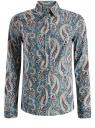 Рубашка приталенная принтованная oodji #SECTION_NAME# (бирюзовый), 21402212/14885/7355E
