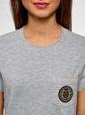 Футболка прямого силуэта с вышивкой oodji #SECTION_NAME# (серый), 14701090/46161/2000Z - вид 4