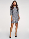 Платье облегающего силуэта на молнии oodji #SECTION_NAME# (серый), 14001105-8B/48480/2519F - вид 2