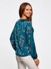 Блузка свободного кроя с вырезом-капелькой oodji #SECTION_NAME# (зеленый), 21400321-2/33116/6C23O - вид 3