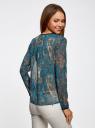 Блузка из струящейся ткани с контрастной отделкой oodji #SECTION_NAME# (бирюзовый), 11411059-2/38375/7355E - вид 3