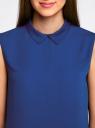 Блузка базовая без рукавов с воротником oodji #SECTION_NAME# (синий), 11411084B/43414/7501N - вид 4