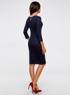 Платье трикотажное с вырезом-капелькой на спине oodji #SECTION_NAME# (синий), 24001070-5/15640/7900N - вид 3