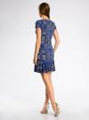 Платье трикотажное с воланами oodji #SECTION_NAME# (синий), 14011017/46384/7574E - вид 3