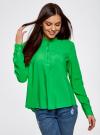Блузка вискозная А-образного силуэта oodji #SECTION_NAME# (зеленый), 21411113B/26346/6A00N - вид 2