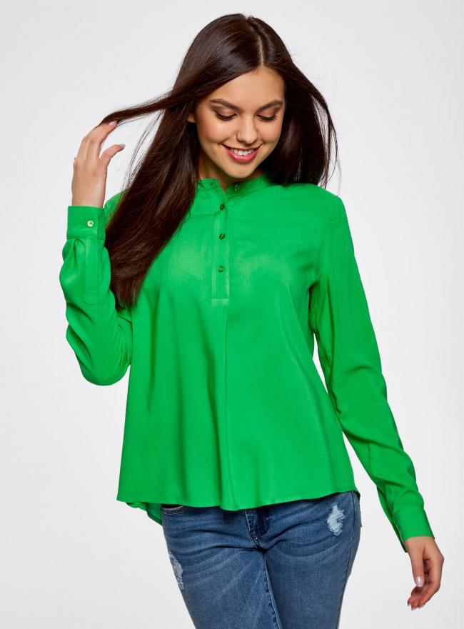Блузка вискозная А-образного силуэта oodji #SECTION_NAME# (зеленый), 21411113B/26346/6A00N