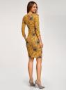 Платье трикотажное с вырезом-капелькой на спине oodji #SECTION_NAME# (желтый), 24001070-5/15640/5725F - вид 3