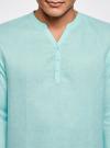 Рубашка льняная без воротника oodji #SECTION_NAME# (бирюзовый), 3B320002M/21155N/7301N - вид 4