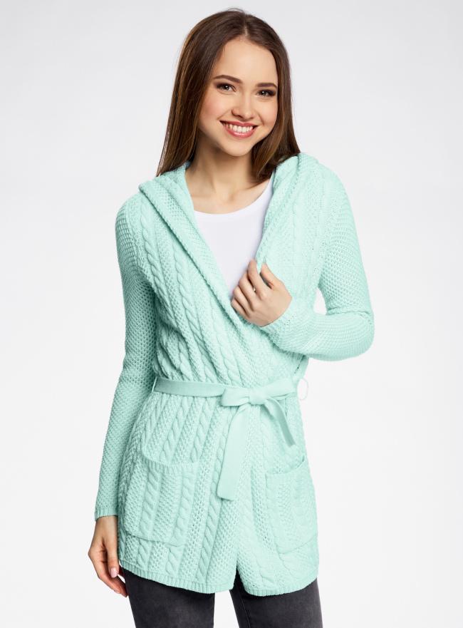 Кардиган с капюшоном и поясом oodji для женщины (зеленый), 73207185/33491/6500N