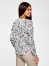 Блузка из струящейся ткани с контрастной отделкой oodji #SECTION_NAME# (белый), 11411059/43414/124AU - вид 3