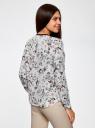 Блузка из струящейся ткани с контрастной отделкой oodji для женщины (белый), 11411059/43414/124AU