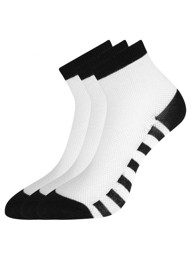 Комплект из трех пар хлопковых носков oodji для женщины (белый), 57102711T3/48022/15