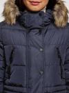 Куртка удлиненная с искусственным мехом на капюшоне oodji #SECTION_NAME# (синий), 10203058/45928/7901N - вид 4