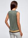 Топ принтованный с V-образным вырезом oodji для женщины (зеленый), 21400388-2/35542/6E37G