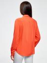 Блузка базовая из вискозы oodji #SECTION_NAME# (оранжевый), 11411136B/26346/5500N - вид 3