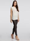 Блузка без рукавов с металлическими кнопками oodji #SECTION_NAME# (белый), 21412131/35251/1200N - вид 6