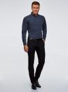 Рубашка хлопковая в мелкую графику oodji для мужчины (синий), 3L110335M/19370N/7975G - вид 6