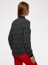 Блузка принтованная из шифона oodji #SECTION_NAME# (черный), 11400394-1/36215/2912K - вид 3