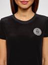 Футболка хлопковая с аппликацией oodji для женщины (черный), 14701091/47883/2900P