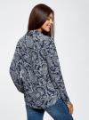 Блузка принтованная из шифона oodji #SECTION_NAME# (синий), 11400394-5/36215/7912E - вид 3
