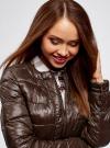 Куртка стеганая с круглым вырезом oodji #SECTION_NAME# (коричневый), 10203050-2B/33445/3900N - вид 4