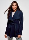 Пальто с поясом и асимметричной застежкой oodji для женщины (синий), 10104041-2/43442/7900N - вид 2