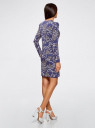 Платье трикотажное облегающего силуэта oodji #SECTION_NAME# (синий), 14000171/46148/7523O - вид 3