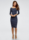 Платье облегающее с вырезом-лодочкой oodji #SECTION_NAME# (синий), 14017001-1/37809/7912S - вид 2