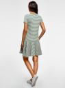 Платье трикотажное с контрастной отделкой oodji для женщины (зеленый), 14001217/46154/6612S