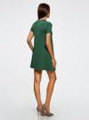 Платье А-образного силуэта в рубчик oodji для женщины (зеленый), 14000157/45997/6E00N - вид 3