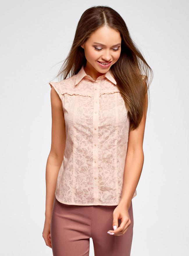Блузка из ткани деворе oodji #SECTION_NAME# (розовый), 11405092-4/26528/4000N
