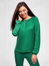 Блузка свободного кроя с вырезом-капелькой oodji #SECTION_NAME# (зеленый), 21400321-2/33116/6E00N - вид 2