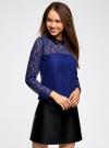 Блузка из кружева с декором на воротнике oodji #SECTION_NAME# (синий), 21411092-1/45967/7500N - вид 2