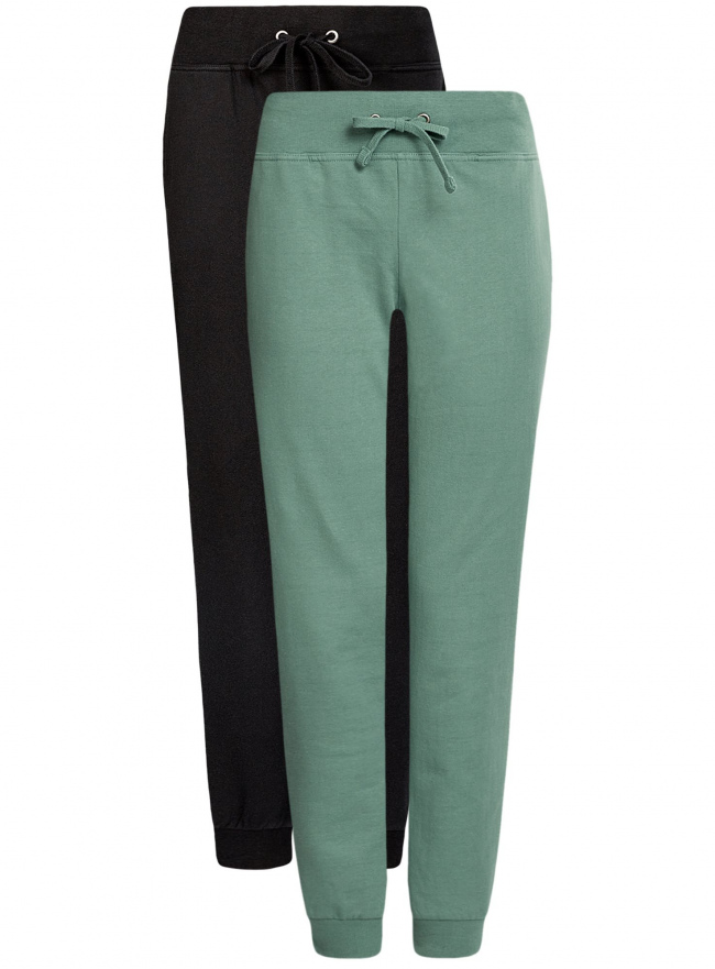 Комплект трикотажных брюк (2 пары) oodji для женщины (черный), 16700030-15T2/46173/296CN