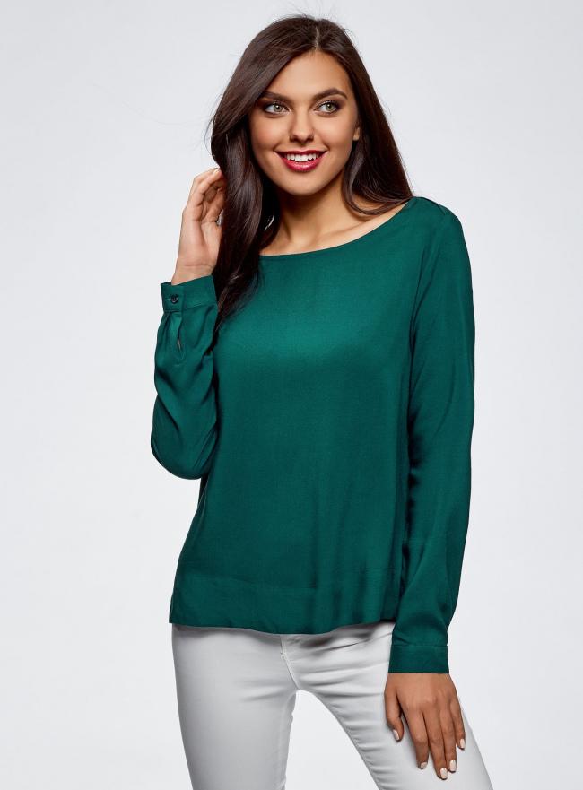 Блузка вискозная базовая oodji #SECTION_NAME# (зеленый), 11411135-3B/26346/6E00N