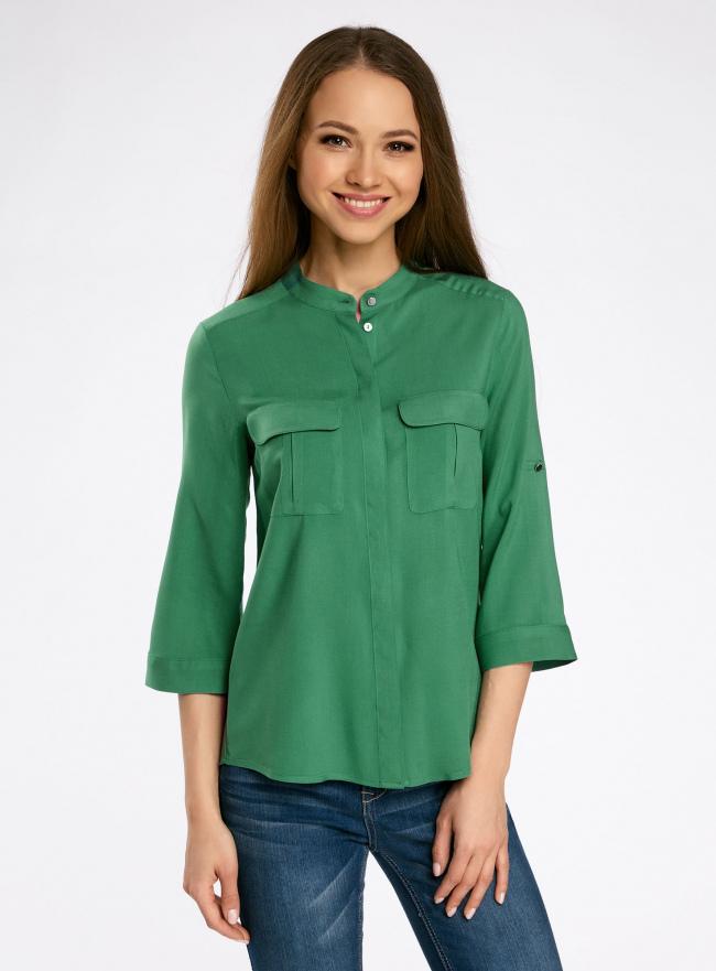 Блузка вискозная с регулировкой длины рукава oodji для женщины (зеленый), 11403225-3B/26346/6E00N