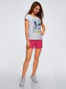Шорты хлопковые с вышивкой  oodji #SECTION_NAME# (розовый), 17000025-1/48434/4700P - вид 6