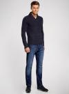 Пуловер фактурной вязки с отложным воротником oodji #SECTION_NAME# (синий), 4L210006M/25700N/7900M - вид 6