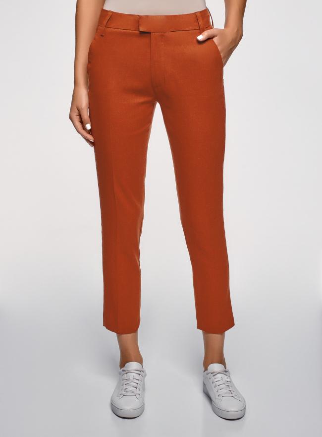 Брюки льняные укороченные oodji для женщины (оранжевый), 21701092B/16009/3101N