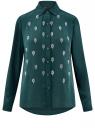 Блузка из струящейся ткани с украшением из страз oodji #SECTION_NAME# (зеленый), 11411128/36215/6C00N