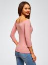 Футболка с рукавом 3/4 и открытыми плечами oodji для женщины (розовый), 14207007B/46867/4100M