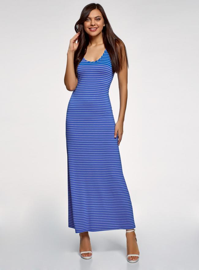 Платье макси с вырезом на спине oodji для женщины (синий), 14005127-2/42626/7510S
