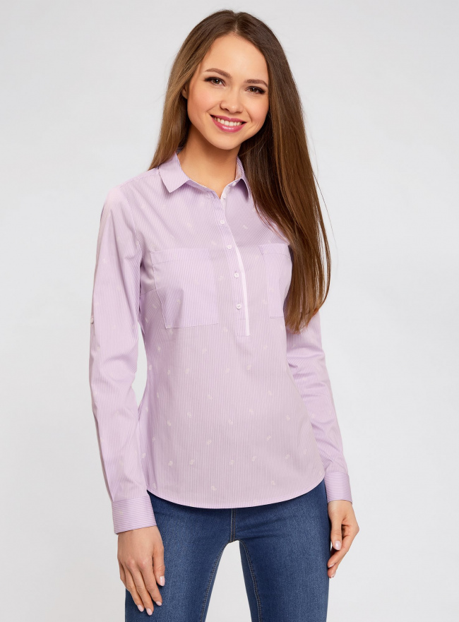 Рубашка приталенная с нагрудными карманами oodji для женщины (фиолетовый), 11403222-4/46440/8010S