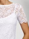 Топ укороченный из кружева oodji для женщины (белый), 15F01004-1/49972/1000L