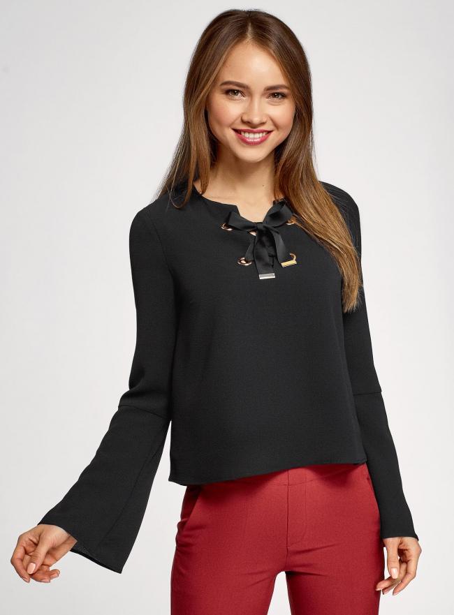 Блузка с бантом и рукавом-колоколом oodji #SECTION_NAME# (черный), 11401256/45994/2900N