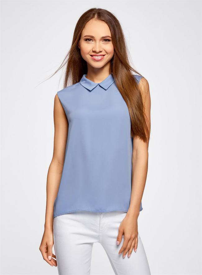 Блузка базовая без рукавов с воротником oodji #SECTION_NAME# (синий), 11411084B/43414/7500N