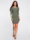 Платье трикотажное в полоску oodji #SECTION_NAME# (зеленый), 14001071-11/46148/6729S - вид 2
