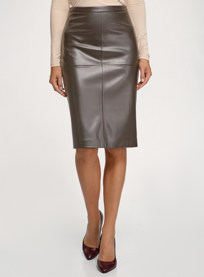 Юбка миди из искусственной кожи oodji для женщины (коричневый), 18H01027B/45059/3900N