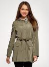 Куртка удлиненная на кулиске oodji для женщины (зеленый), 11D03006/24058/6601N - вид 2